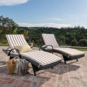 Havenside Home Vilano Outdoor Cushioned Lounge Chair (Set of 2) by Havenside Home (Grey/Brown White Stripe)