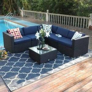 Overstock PHI VILLA 6-Piece Outdoor Sectional Sofa Rattan Patio Furniture Set Conversation Set with Tea Table, 3 types - 6-Pieces Sets (Left Facing)