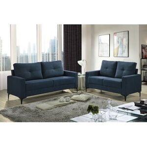 Bella Freeholm Minimalist Upholstered Sofa & Loveseat Set (Gray/ Charcoal/ Blue/ Black) (Navy Blue Chenille)