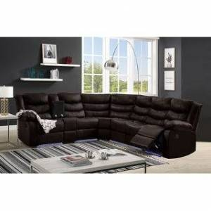Bella Nestor Faux Leather LED Reclining Sectional with Storage Console (Brown)