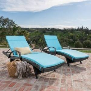 Havenside Home Vilano Outdoor Cushioned Lounge Chair (Set of 2) by Havenside Home (Grey/Blue)