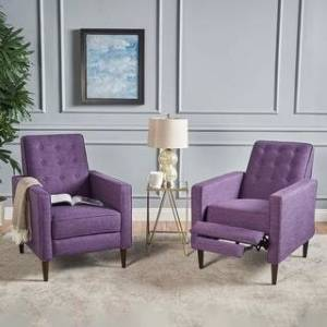 Christopher Knight Home Mervynn Mid-century Fabric Recliner Chairs (Set of 2) by Christopher Knight Home (Muted Purple)