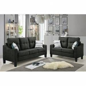 Bella Oberholst Contemporary Chenille Upholstered Sofa & Loveseat Set (Black/ Blue/ Brown/ Gray) (Gray with Plastic Base)