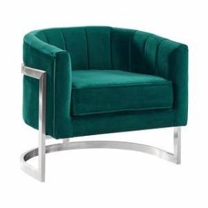 Armen Living Kamila Contemporary Accent Chair in Grey Velvet and Brushed Stainless Steel Finish (Green)