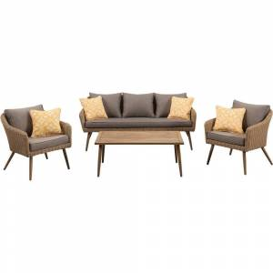 "Md M?d Jaden 5 Piece Set with 2 Side Chairs, Sofa in Grey and 24"" x 43"" Faux Wood Coffee Table - N/A (Grey)"