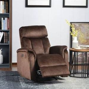 Merax Soft Fabric Upholstery/ PU Leather Power Motion Recliner with USB Charge Port (Brown)