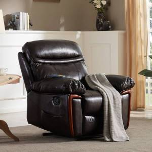 Merax PU Leather Recliner Chair with Heat and Massage (Dark Brown)