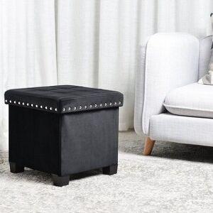 KINWELL Foldable Storage Ottoman, Velvet Tufted, Cubes Footrest, Rest Seat (Black)