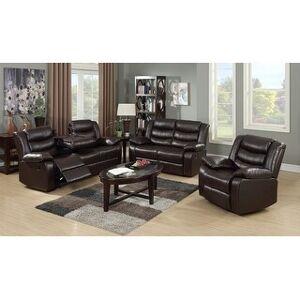 Bella Roth Reclining Living Room Sofa Set (Espresso - 3 Piece)