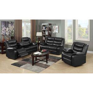 Bella Roth Reclining Living Room Sofa Set (Black - 2 Piece)