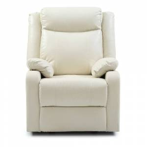 Overstock LYKE Home White Faux Leather Recliner (Off White)