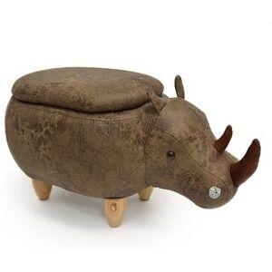 Bella Kids Upholstered Rhino Ottoman with Storage (Brown/Tan)