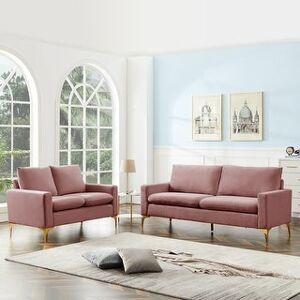 Overstock Modern Classic Velet Loveseat For Living Room (Pink)