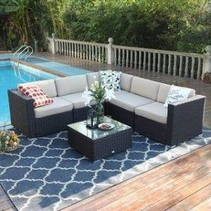 Overstock PHI VILLA 6-Piece Outdoor Sectional Sofa Rattan Patio Furniture Set Conversation Set with Tea Table, 3 types - 6-Pieces Sets (Right Facing)