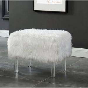 Silver Orchid Andral Contemporary Acrylic Ottoman (White)