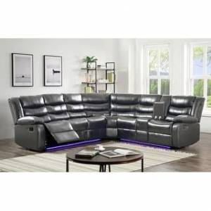 Bella Nestor Faux Leather LED Reclining Sectional with Storage Console (Grey)