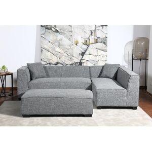 Bella Kepler Modular Yarn Sectional with Matching Ottoman and Throw Pillows (Gray)