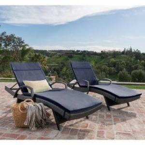 Havenside Home Vilano Outdoor Cushioned Lounge Chair (Set of 2) by Havenside Home (Brown/Navy Blue)