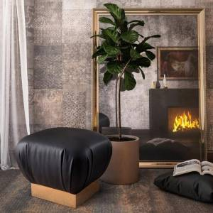 "TOV Furniture Lotus Black Ottoman (Handmade - 19""w x 19""d x 18""h - Foot Stool/Standard Ottoman - Solid - Faux Leather/Steel - Black - Assembled - Faux Leather -"