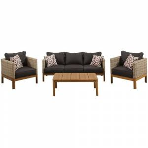 """Md M?d Blake 4-Piece Set with 2 Bucket Chairs, Sofa in Black and 44"""" x 17"""" Faux Wood Coffee Table - N/A (Black)"""
