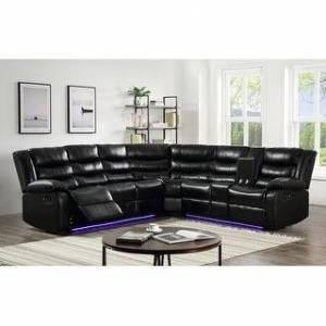 Bella Nestor Faux Leather LED Reclining Sectional with Storage Console (Black)