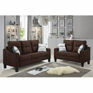 Bella Oberholst Contemporary Chenille Upholstered Sofa & Loveseat Set (Black/ Blue/ Brown/ Gray) (Brown with Plastic Base)