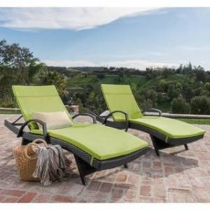 Havenside Home Vilano Outdoor Cushioned Lounge Chair (Set of 2) by Havenside Home (Green;Grey)