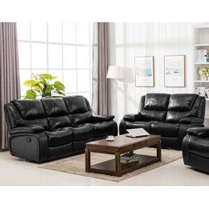 Bella Perrault Top Grain Leather Reclining Sofa Set (Black - 2 Piece)