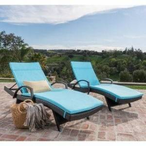 Havenside Home Vilano Outdoor Cushioned Lounge Chair (Set of 2) by Havenside Home (Brown/Blue)