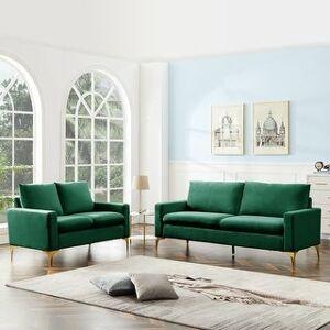 Overstock Modern Classic Velet Loveseat For Living Room (Green)