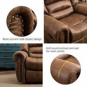 Overstock Nut Brown Leather Manual Recliner Chair with Overstuffed Arms and Back (Brown)