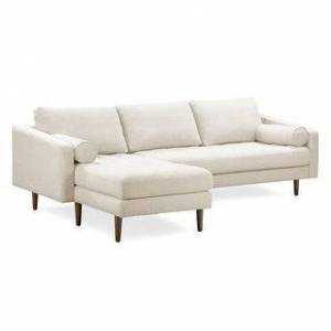 Poly and Bark Napa Fabric Left Sectional Sofa (Twill Wheat)