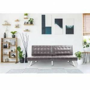 Overstock Modern Faux Leather Folding Lounge Couch Sofa Bed (Black - Twin)
