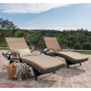 Havenside Home Vilano Outdoor Cushioned Lounge Chair (Set of 2) by Havenside Home (Brown;Grey)