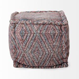 Mercana  Nicandra Salmon/Tan Polycotton Diamond Pattern Square Pouf (Tan/Pink - Pouf/Standard Ottoman - Pattern - Polyester/Cotton - Assembled -