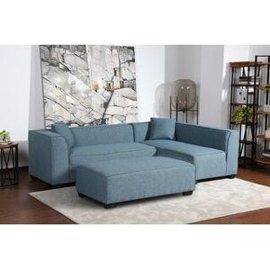 Bella Kepler Modular Yarn Sectional with Matching Ottoman and Throw Pillows (Light Blue)