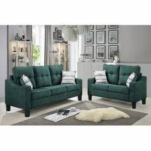 Bella Oberholst Contemporary Chenille Upholstered Sofa & Loveseat Set (Black/ Blue/ Brown/ Gray) (Teal Green with Plastic Base)