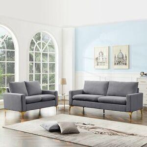 Overstock Modern Classic Velet Loveseat For Living Room (Grey)