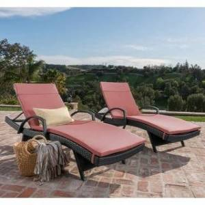 Havenside Home Vilano Outdoor Cushioned Lounge Chair (Set of 2) by Havenside Home (Grey/Red Cushion)