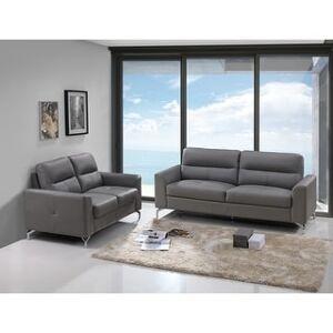 Bella Renquist Top Grain Leather Modern Sofa & Loveseat Set (Gray)