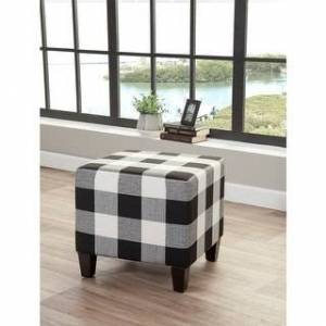 Stockton Ottoman Grafton Stockton Plaid/Checkered Ottoman (Black/White - Small)