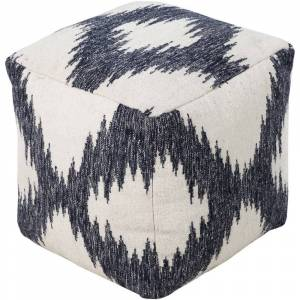 Overstock Ikat Sion Square Wool 18-inch Pouf (Navy)