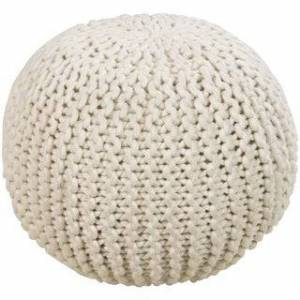 """Overstock Solid Daly Round Wool 18-inch Pouf (Beige-(18"""" x 18"""" x 12""""))"""