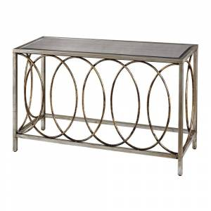 Sterling Rings Mirrored Top Console Table (Silver)