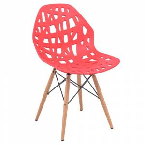LeisureMod Akron Red Dining Side Chair W/ Dowel Eiffel Base (Single - Dining Height)