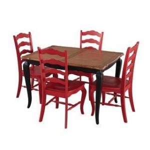 The Gray Barn Hester Gulch Black and Oak 5-piece Dining Set (Red)