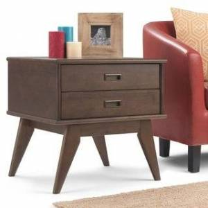WYNDENHALL Tierney SOLID HARDWOOD 22 inch Wide Rectangle Mid Century Modern End Side Table - 22 W x 20 D x 22 H (Walnut Brown)