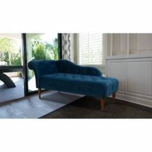 Gracewood Hollow Torrealba Tufted Chaise Lounge (Satin Teal)