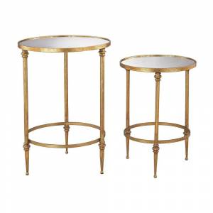 Sterling Dimond Home Alcazar Accent Tables in Antique Gold and Mirror (Antique Gold)