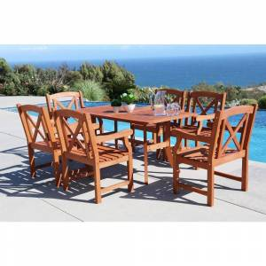 Havenside Home Surfside Eco-friendly 7-piece Outdoor Hardwood Dining Set with Rectangle Table and Arm Chairs by Havenside Home (Natural Wood)